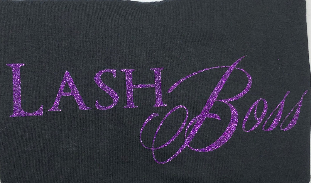 One of a Kind Lash Boss Glitter Print Black V neck T-shirt