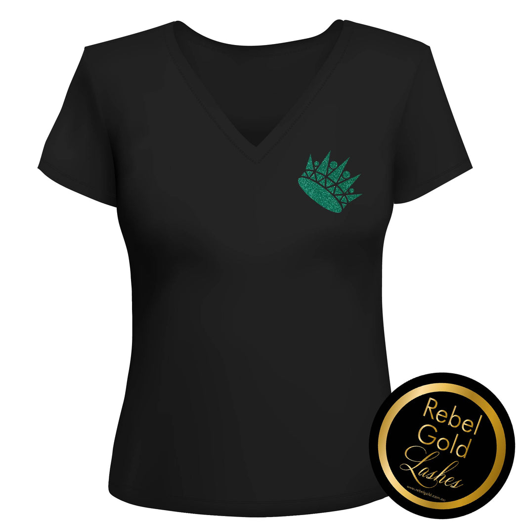 QUEEN  Emerald Glitter Black V neck T Shirt - SPECIAL