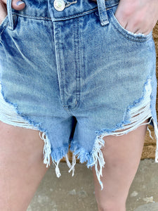 rylen destructed denim shorts