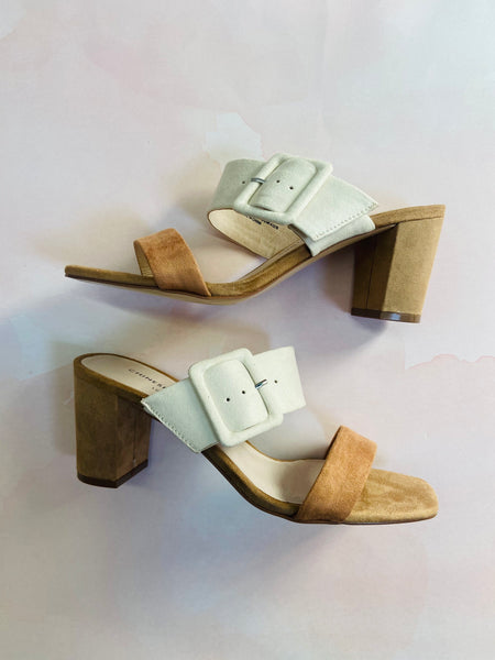 chinese laundry: yippy block heel slide - cream multi
