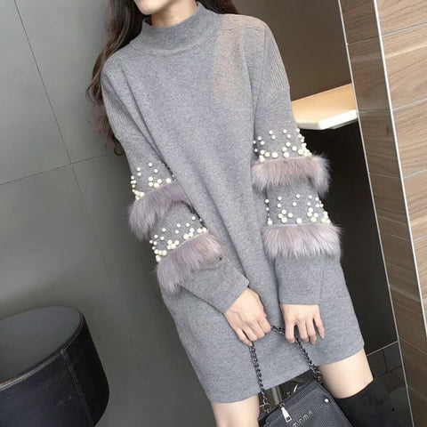 Autumn Pearls Knitted Sweater Dress