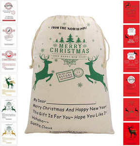 "Bonison Christmas Bag Santa Sack Canvas Bag for Gifts Santa Sack Special Delivery Extra Large Size 27.6""x19.7"" (White Pattern 0)"