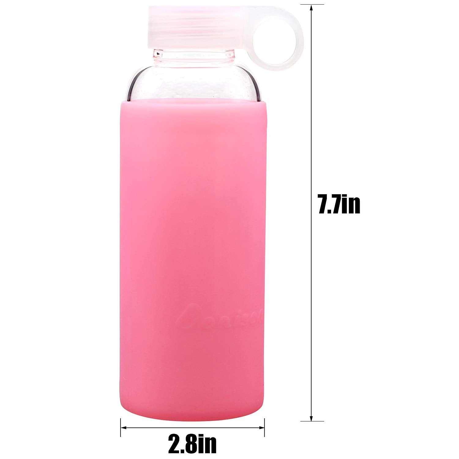 Bonison Jelly Glass Bottle, Borosilicate Glass Bottle with Pink Silicone Protective Sleeve, Perfect for Travel, Office, Home, Two Bonus Gifts of Cleaning Brush and Cloth Glass Wiper