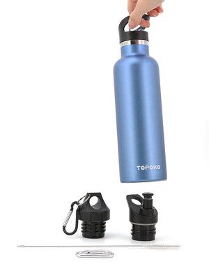 TOPOKO Replacement Lid for Standard Mouth Water Bottle Vacuum Insulated Double Wall Stainless Steel Water Bottle, Standard Mouth (Bite Valve,Straw,& Twist Lid)