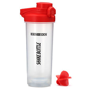 Bonison 24 OZ Shake Bottle Flip Top Spout With Lid Lock New Mixer Ball To Mix Protein Powder Easy Shaker Water Bottle With Handle - Red