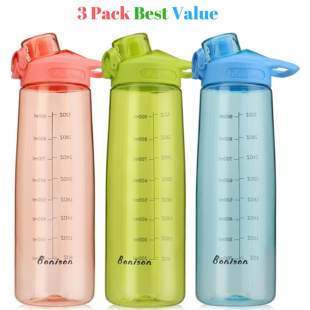 Bonison 34 OZ Wide Mouth Sports Water Bottle Flip Top Lid With Handle, Leak Proof, Bpa Free, Various Capacity - Perfect for Travel Yoga Running Outdoor Cycling Hiking Or Camping - 3 Pack