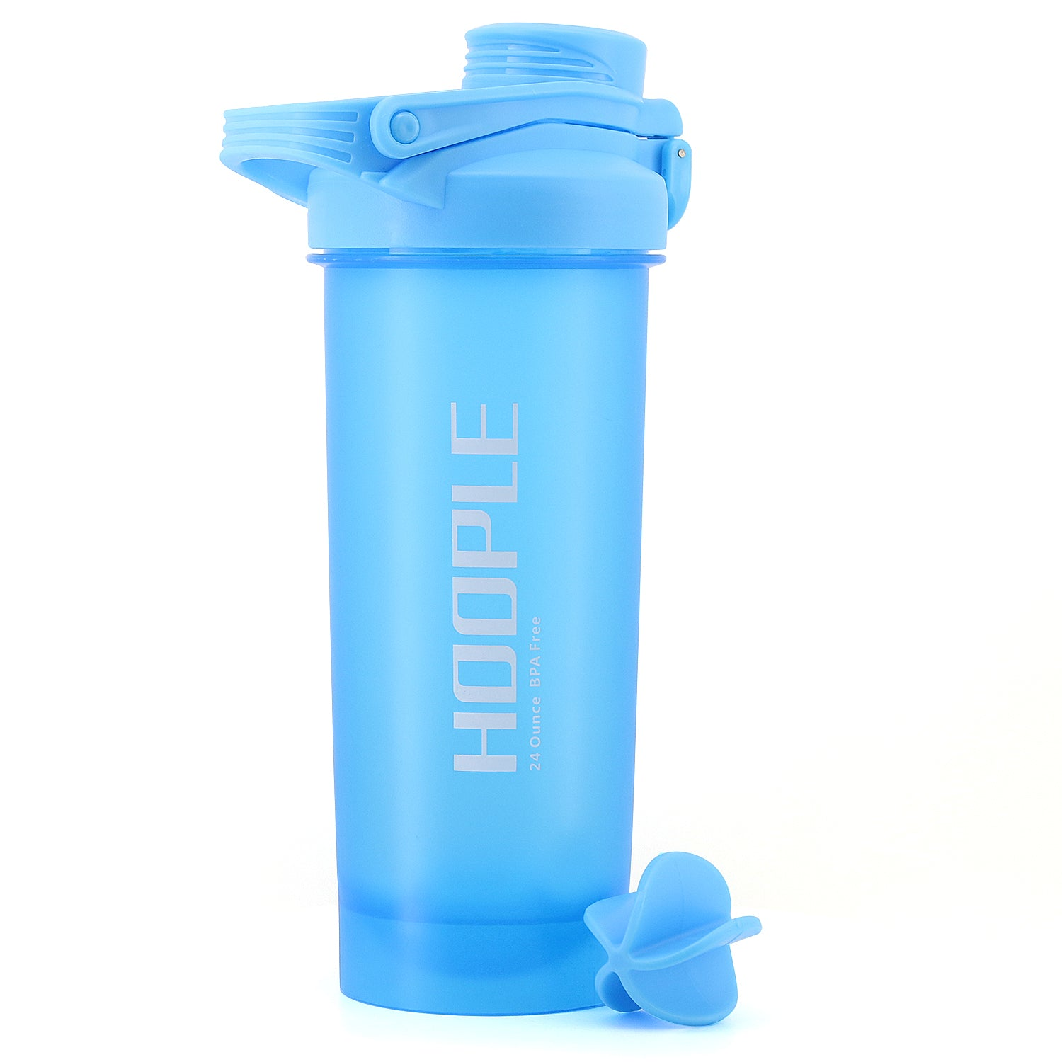 Hoople 24 OZ Shaker Bottle Protein Powder Shake Blender Gym Smoothie Cup, BPA Free, Auto-Flip Leak-Proof Lid, Handle with Ball Included - Aqua