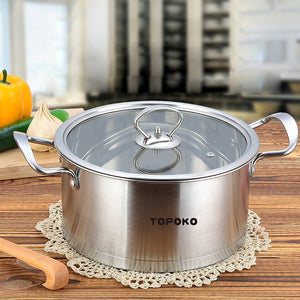 Stainless Steel 4-quart Saucepot - Perfect Family Soup Pot with Tempered Glass Lid
