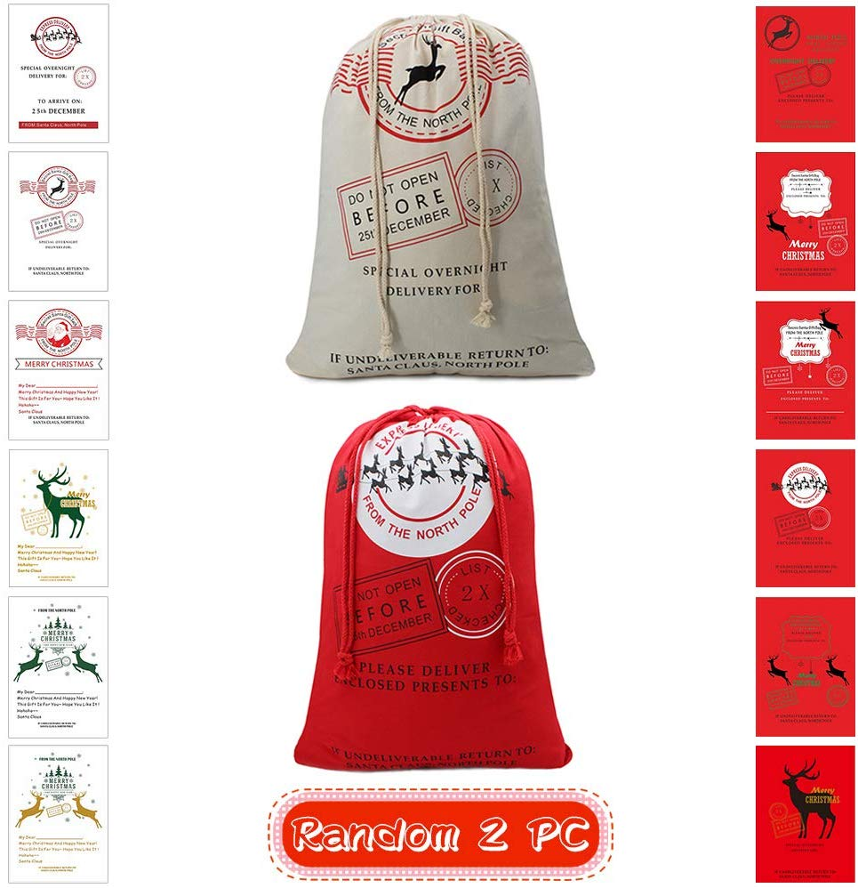"Christmas Bag Santa Sack Canvas Bag For Gifts Santa Sack Special Delivery Extra Large Size 27.5""x19.5"" (2 Random)"