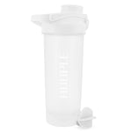 Hoople 24 OZ Shaker Bottle Protein Powder Shake Blender Gym Smoothie Cup, BPA Free, Auto-Flip Leak-Proof Lid, Handle with Ball Included - White