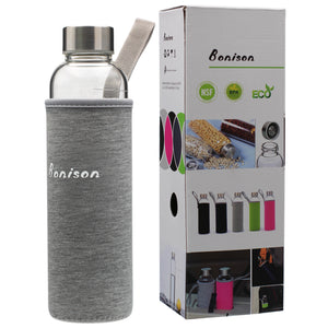 18.5 Oz Borosilicate Glass Water Bottle with Assorted Colorful Nylon Sleeve, Extra Thick Base, BPA Free, Crystal Clear, Trendy Design
