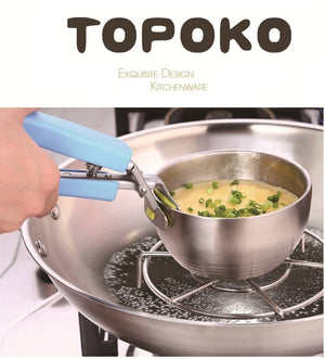 TOPOKO Stainless Steel Retriever Tong / Gripper Clip for Lift Bowl, Plate, Tray from Instant Pot, Microwave, Oven, Pot. 2 Pack.
