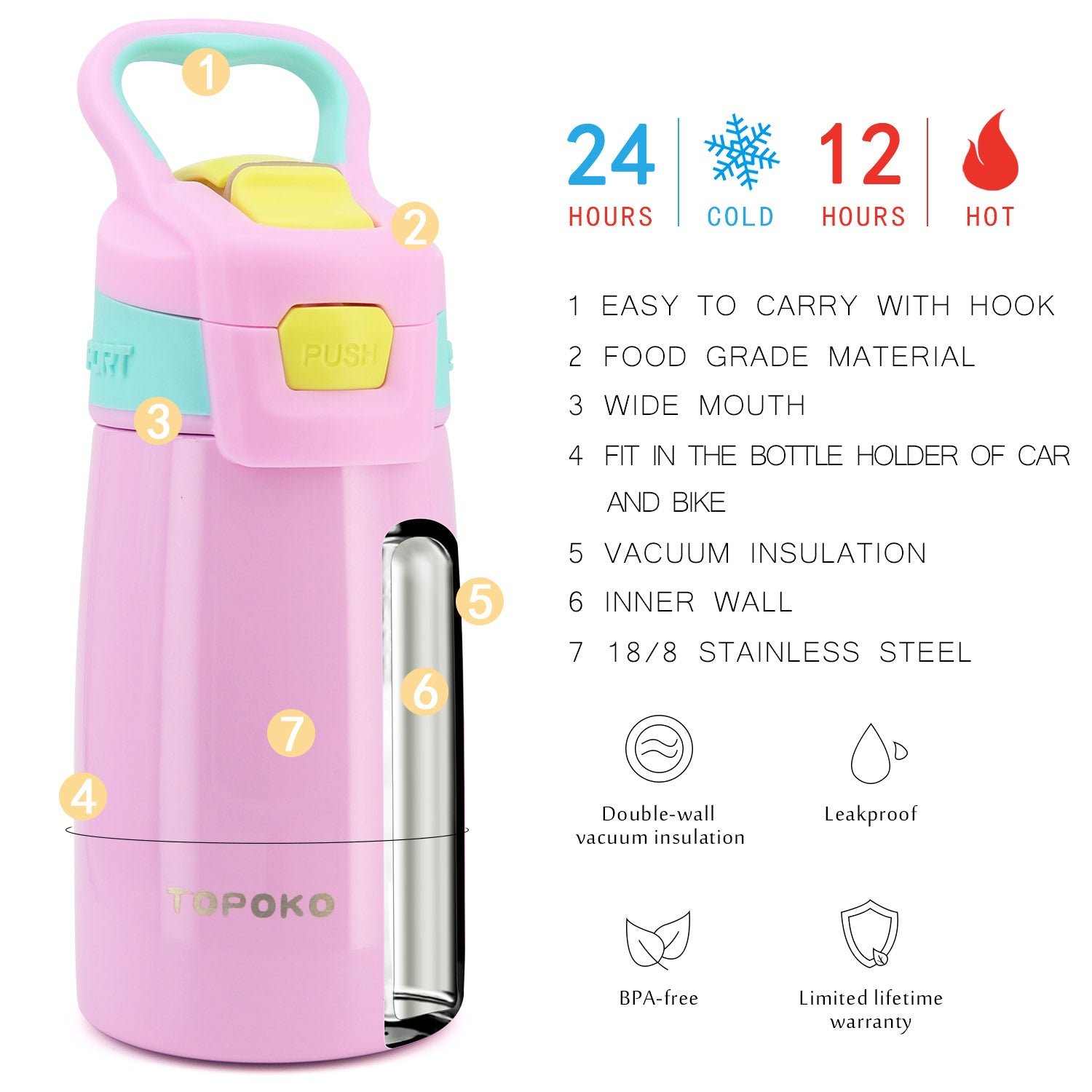 TOPOKO Kid's Auto Flip Stainless Steel Double Wall Water Bottle, Vacuum Insulated, Sweat Proof, Leak Proof, Wide Mouth, with Carrying Handle-12 OZ