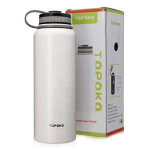 TOPOKO 42 Oz Stainless Steel Vacuum Bottle Double - Wall Vacuum Insulation - Big Mouth, Leak proof, Keep Hot or Cold More than 12 Hours - White
