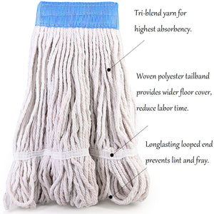 Bonison Commercial Use Wringer Style Replacement Mop Head For Clamp Mop With Looped Ends And Yarn Tailband, Heavy Duty And Long Lasting. (1, White)