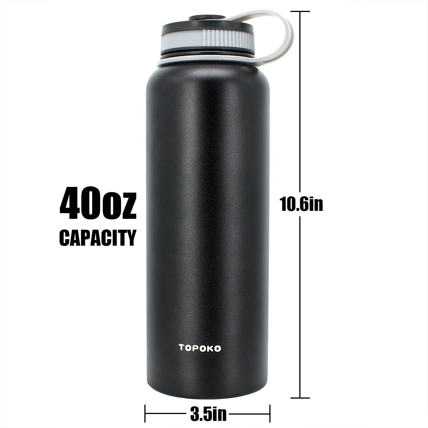 TOPOKO 42 Oz Stainless Steel Vacuum Bottle Double - Wall Vacuum Insulation - Big Mouth, Leak proof, Keep Hot or Cold More than 12 Hours - Black
