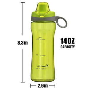 BONISON 14 OZ Kids Water Bottle With Flip Top Lid Leak Proof Bpa Free Drinking Water Bottle For School Running Outdoor Cycling And Camping Perfect Size For Kids - Green