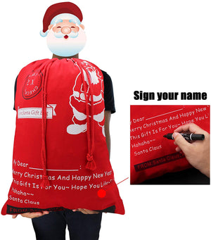 Bonison Holiday Theme Bag for Christmas with Cartoon Design,Large Canvas Santa Sack for Carrying Candy, Gift, Present for Party, Trick or Treat (Xmas Bag 12 pcs)