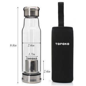 18.5 OZ Borosilicated Glass Water Bottle With Tea infuser, Come with Colorful Portable Nylon Sleeve.