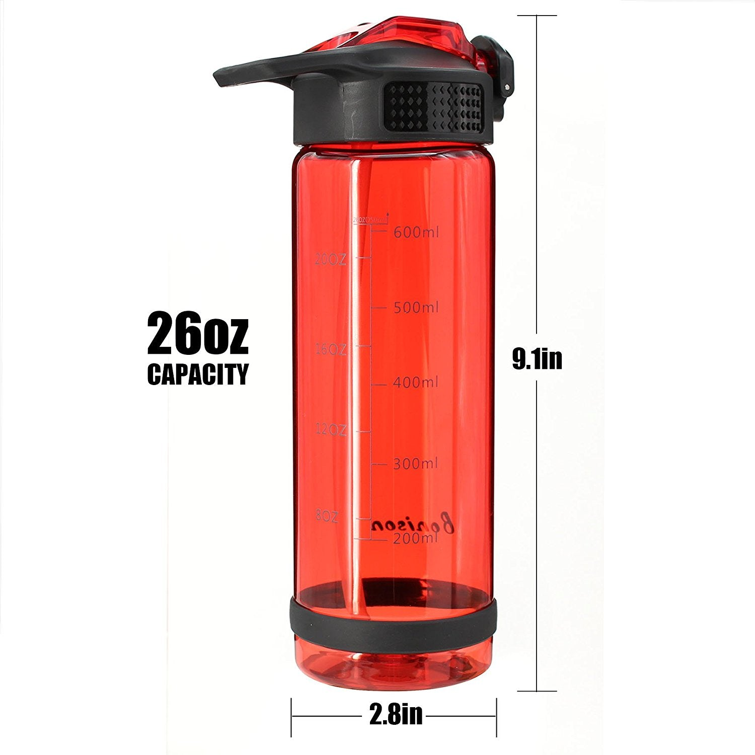 Bonison 26 OZ Water Bottle With Straw BPA Free Shaker Bottle Protein Powder Mixing Bottle With Lid Lock - Easy One Hand Operate Sport Bottle - Red