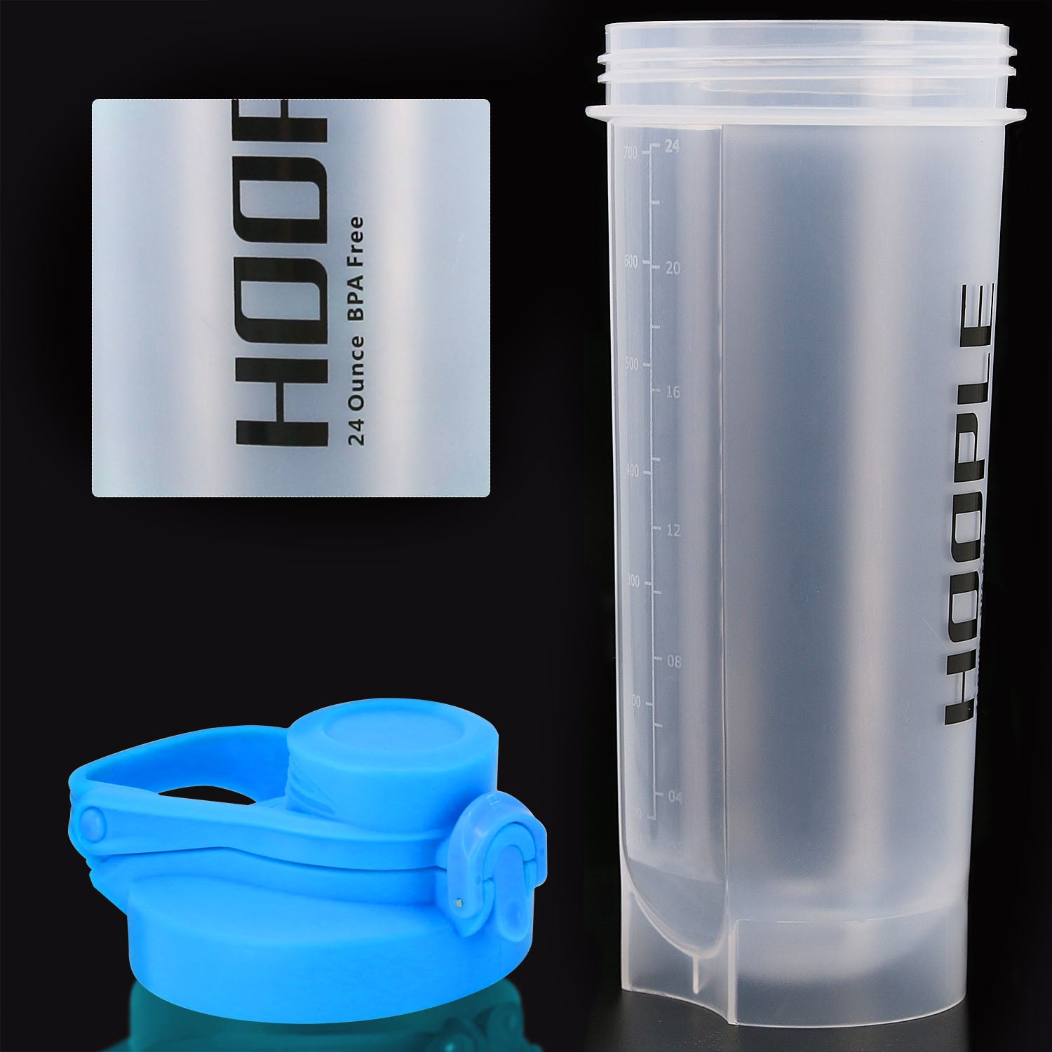 Hoople 24 OZ Shaker Bottle Protein Powder Shake Blender Gym Smoothie Cup, BPA Free, Auto-Flip Leak-Proof Lid, Handle with Ball Included - Clear/Aqua