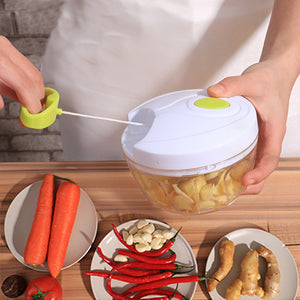 Manual Food Chopper Hand-Powered Food Chopper Compact Handheld Onion Chopper, Garlic Squeezer, Ginger Slicer, Pepper Cut, Herbs Chop, Cheeses Chopper Masher