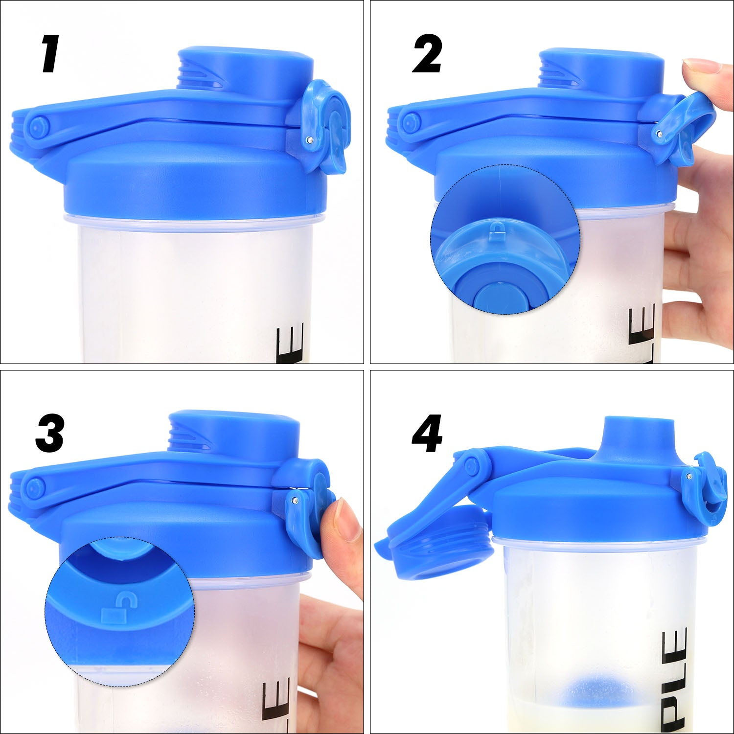 Hoople 24 OZ Shaker Bottle Protein Powder Shake Blender Gym Smoothie Cup, BPA Free, Auto-Flip Leak-Proof Lid, Handle with Ball Included - Blue