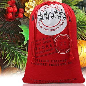 "Bonison Christmas Bag Santa Sack Canvas Bag for Gifts Santa Sack Special Delivery Extra Large Size 27.6""x19.5"" (8pcs)"