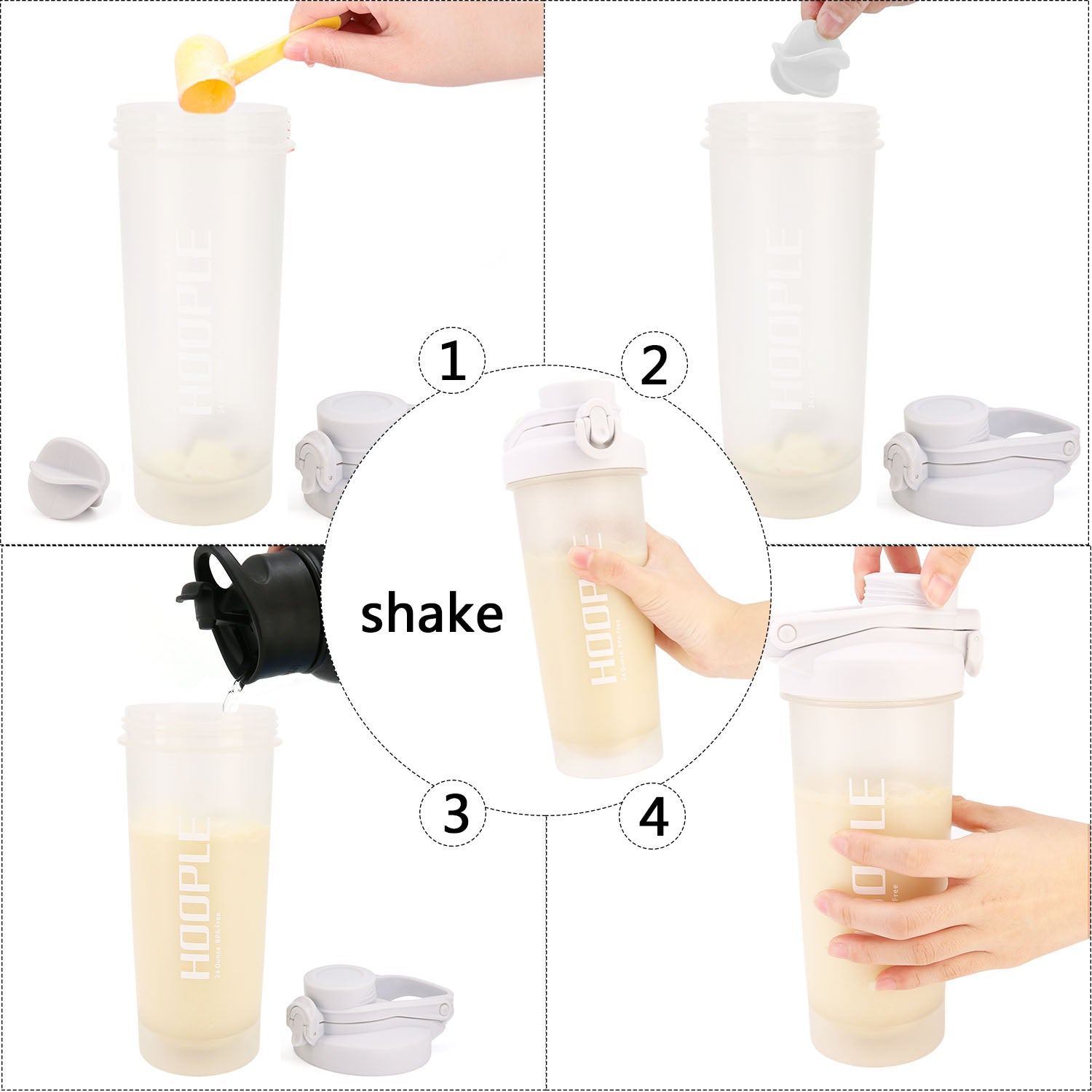 Hoople 24 OZ Shaker Bottle Protein Powder Shake Blender Gym Smoothie Cup, BPA Free, Auto-Flip Leak-Proof Lid, Handle with Ball Included - Gray