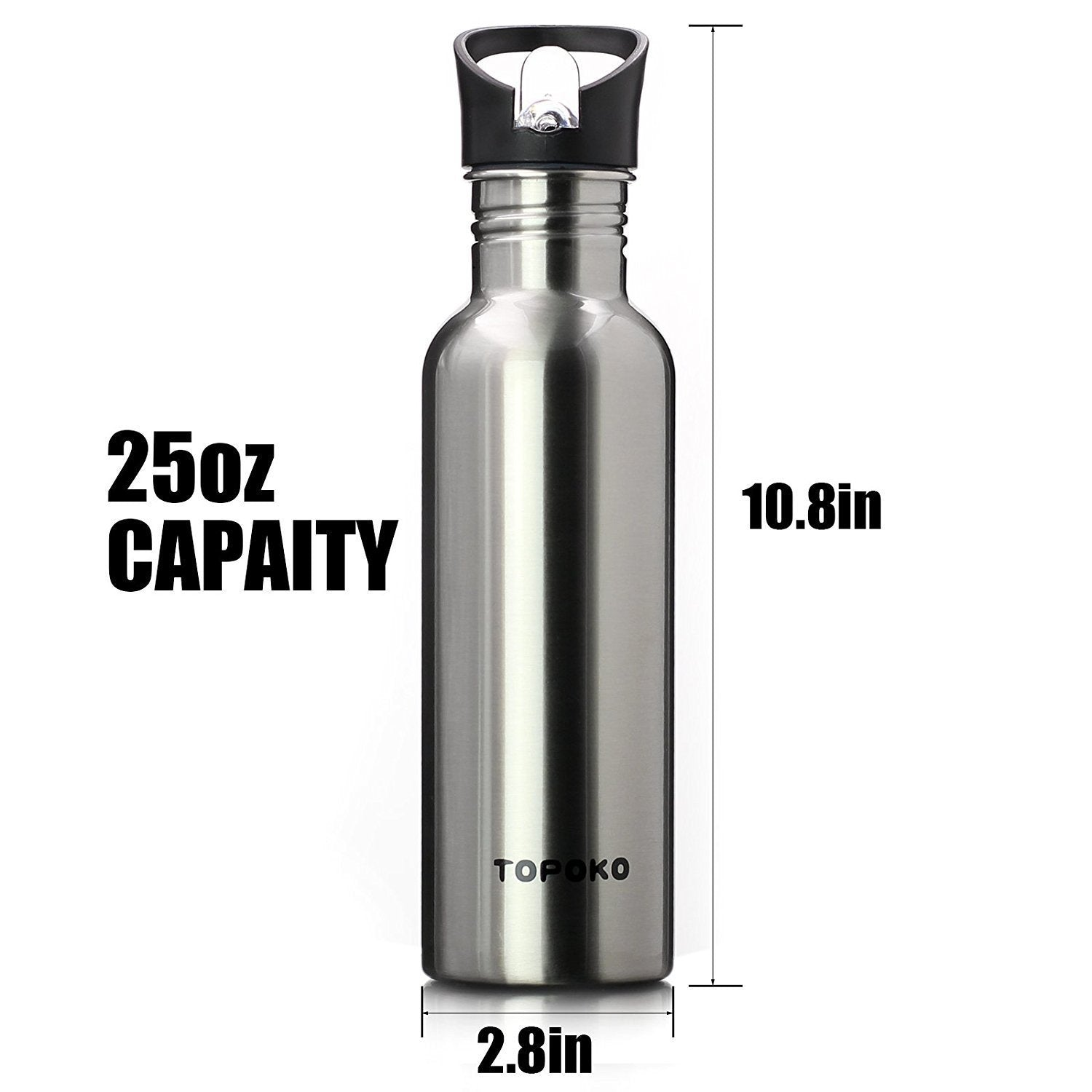 Stainless Steel Single Wall Straw Flip Lid Sports Bottle