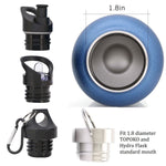 Leak Proof Twisted Cap For TOPOKO and HydroFlask. Compatible Lid for Stainless Steel Vacuum Insulated Double Wall Water Bottle, Standard Mouth 1.8""