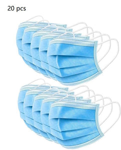 BYD Medical Disposable 3-Ply Face Earloop Sanitary Masks for Offices and Outdoor, Blue -Pack of 20