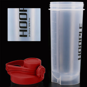 Hoople 24 OZ Shaker Bottle Protein Powder Shake Blender Gym Smoothie Cup, BPA Free, Auto-Flip Leak-Proof Lid, Handle with Ball Included - Red