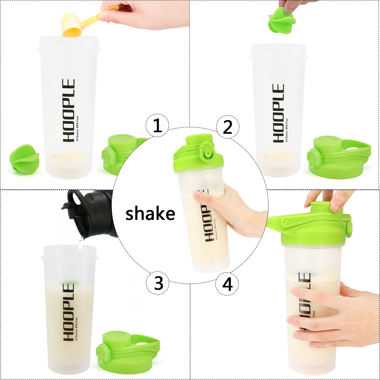 Hoople 24 OZ Shaker Bottle Protein Powder Shake Blender Gym Smoothie Cup, BPA Free, Auto-Flip Leak-Proof Lid, Handle with Ball Included - Green