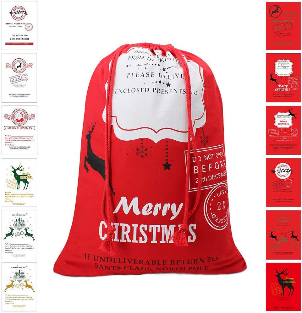 "Bonison Christmas Bag Santa Sack Canvas Bag for Gifts Santa Sack Special Delivery Extra Large Size 27.6""x19.7"""