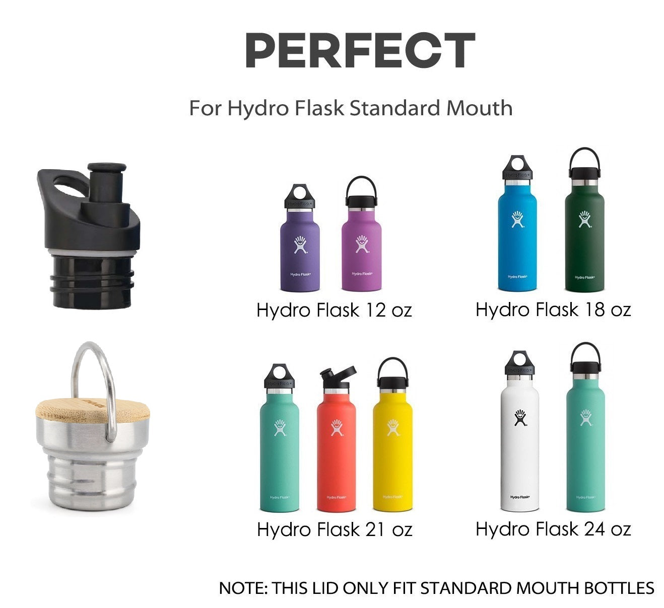 Replacement Lids For Hydro Flask Standard Mouth Water Bottle-Bite Valve Stainless Steel Lid Twist Sports Lid Straw Lid For Hydro Flask Bottle