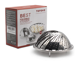 TOPOKO Vegetable Steamer Basket, Fits Instant Pot Pressure Cooker 5/6 QT and 8 QT, 18/8 Stainless Steel, Folding Steamer Insert For Veggie Fish Seafood Cooking, Expandable to Fit Various Size Pot.