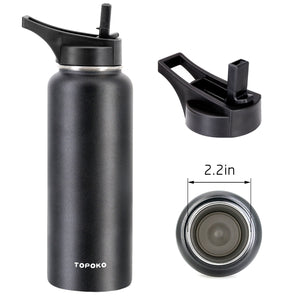 "Straw Lid for Hydro Flask Wide Mouth Water Bottle, Extra Long Handle Replacement Straw Lid Set for Insulated Bottle with 2.2"" Mouth. 2 Straws and 2 Brushes, BPA-Free and Leak Proof."