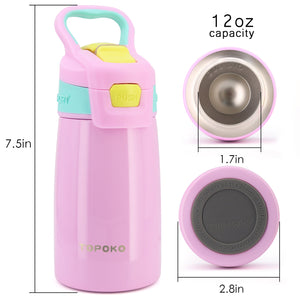 TOPOKO AUTO FLIP 12 OZ Stainless Steel Kids Water Bottle for Girls Double Wall Beverage Carry Kid Cup Vacuum Insulated Leak Proof Thermos Handle Spout BPA-Free Sports Bottle