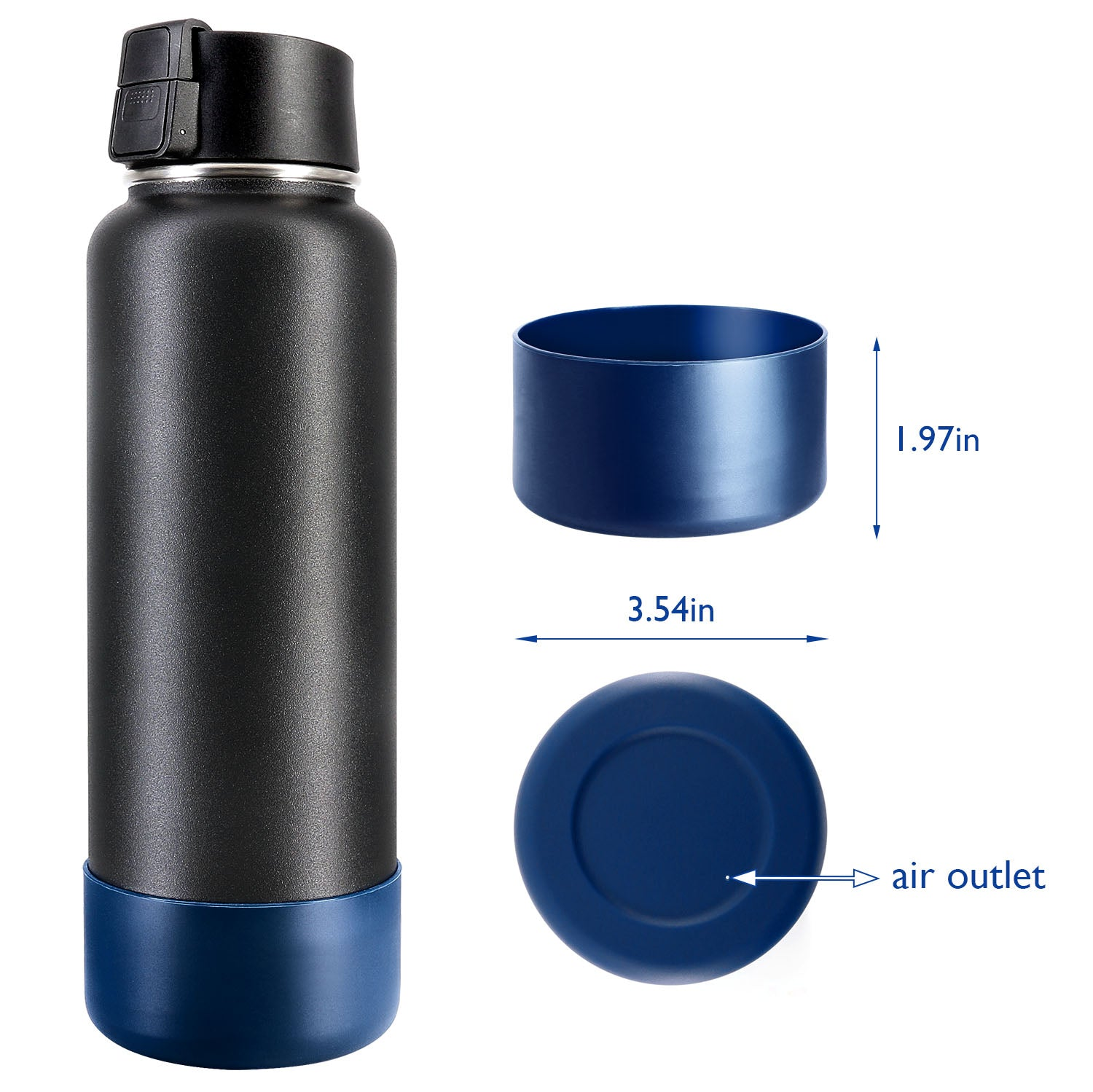 Protective Silicone Bottle Boot/Sleeve for Bottles, BPA Free Anti-Slip Bottom Cover Cap for Stainless Steel Water Bottle, Dishwasher Safe