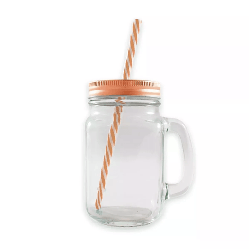Frasco Mason Jar Ice Cold 16oz Con Asa Liso Transparente - MarchanteMX