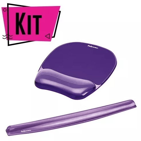 Kit Mouse Pad y Descansa Muñecas Gel Crystal™ - Morado Oficina Fellowes