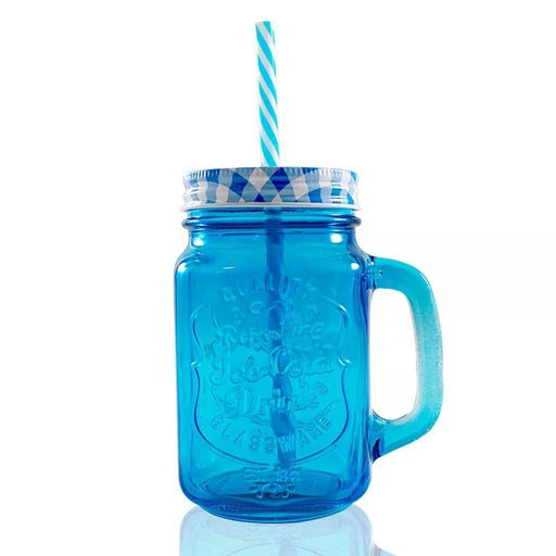 Frasco Ball Mason Jar Ice Cold 16oz Con Asa Grabado Azul - MarchanteMX