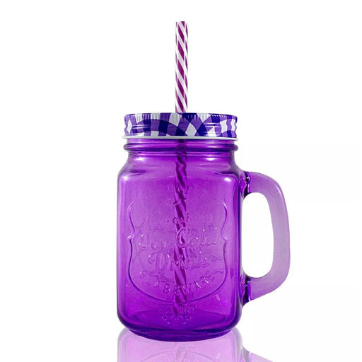 Frasco Ball Mason Jar Ice Cold 16oz Con Asa Grabado Morado Mason Jars Ball Ball