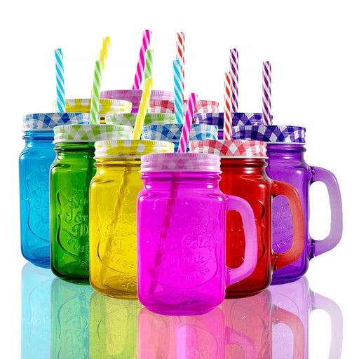 Frasco Ball Mason Jar Ice Cold 16oz Con Asa Grabado Morado - MarchanteMX