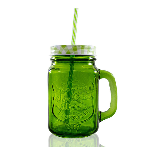 Frasco Ball Mason Jar Ice Cold 16oz Con Asa Grabado Verde - MarchanteMX