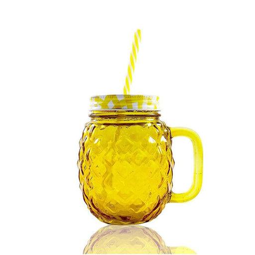 Frasco Ball Mason Jar Piña 16oz Tapa Colores  Amarillo - MarchanteMX