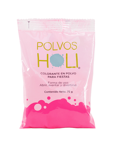 Polvos Holi Original Rosa Bolsa 75gr Party Time holi