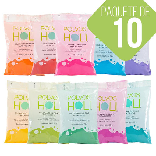 10 Pack Polvos Holi Original Colores 75gr - MarchanteMX