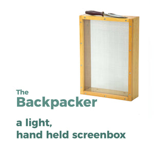 The Backpacker, a hand held sifting screen